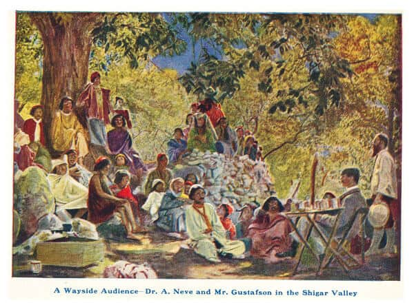 A Wayside Audience - Dr. A. Neve and Mr. Gustafson in the Shigar Valley
