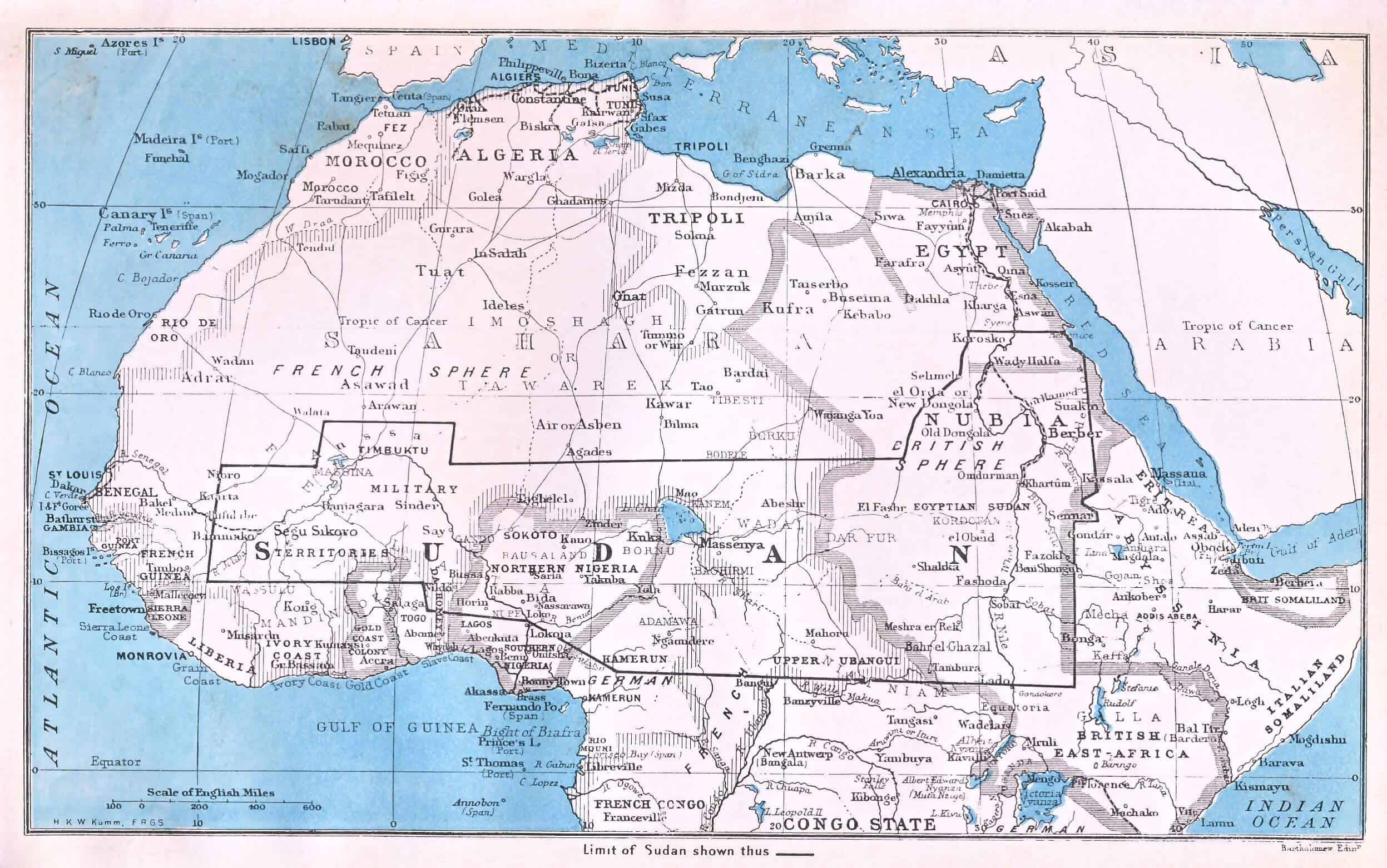 Sudan in the 1900's from Kumm, The Sudan, p.19.