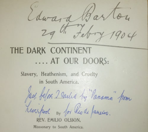 Inscription inside The Dark Continent by Emilio Olsson
